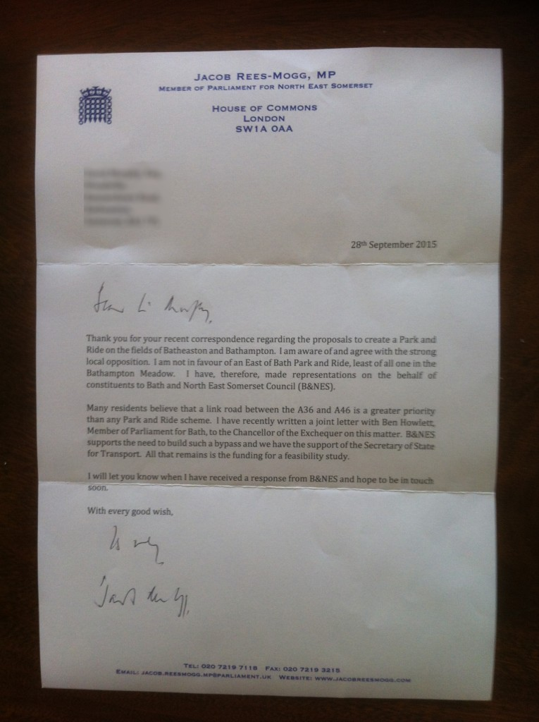 Letter from Jacob Rees-Mogg stating his position against any East of Bath Park and Ride scheme.