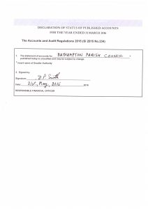 Signed letter from our clerk confirming status of accounts