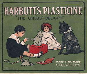 Image of children playing with model plasticine advertising Harbutt's Plasticine